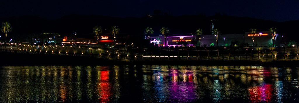 Dos Lagos lakeside at night